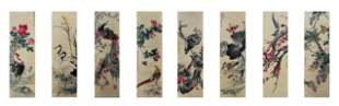 A Set of Eight Chinese Paintings Hangscrolls Attribute