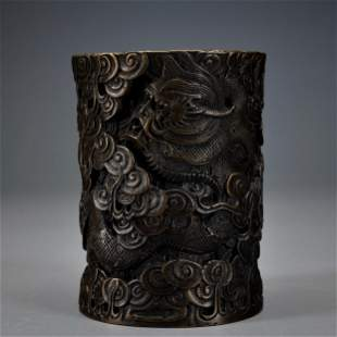 A Bronze Brush-pot Qing Dynasty