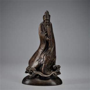 A Carved Chenxiang Standing Figure Qing Dynasty
