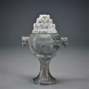 A Carved Jade Incense Burner