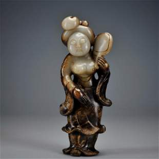A Carved Jade Standing Figure