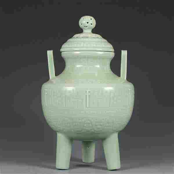 A Celadon Glazed Tripod Censer