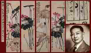 A Set of Four Hanging Panel Signed Qi Baishi