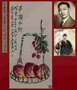 A Chinese Painting of Peaches Signed Qi Baishi