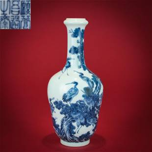 A Blue and White Mallet Vase Wangbu Style