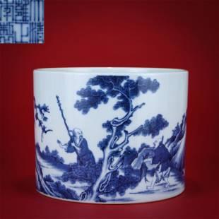 A Blue and White Figural Brushpot Yongzheng Period