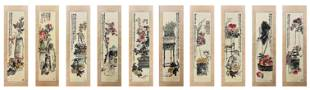 Set of Chinese Painting Hanging Scroll Signed Wu