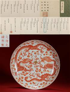 An Iron Red and Gilt Dragons Plate Guangxu Period