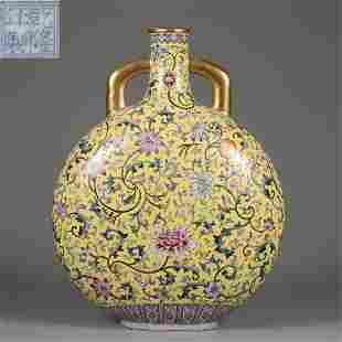 A Famille Rose Moon Flask Qing Dynasty