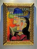 PABLO PICASSO oil on canvas painting signed & stamped