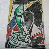 Pablo picasso drawing painted in watercolor on paper