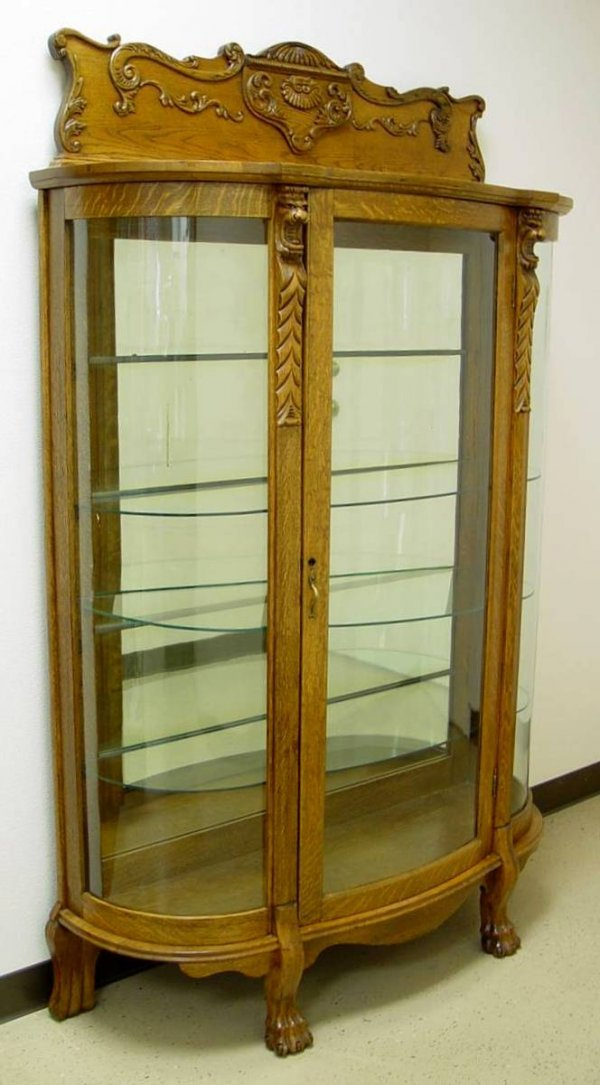 "74: OAK CURVED GLASS CHINA CABINET 75"" TALL 48"" WIDE 17"