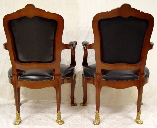 78: 2 LOUIS XV STYLE BRONZE MOUNTED ARM CHAIRS 38 1/2""