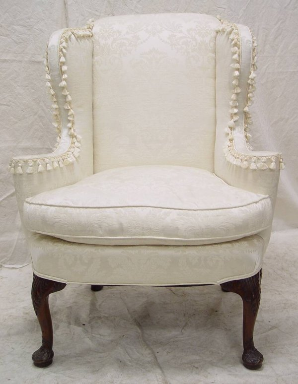 "83: CHIPPENDALE STYLE WING BACK ARM CHAIR 43"" TALL 33"""