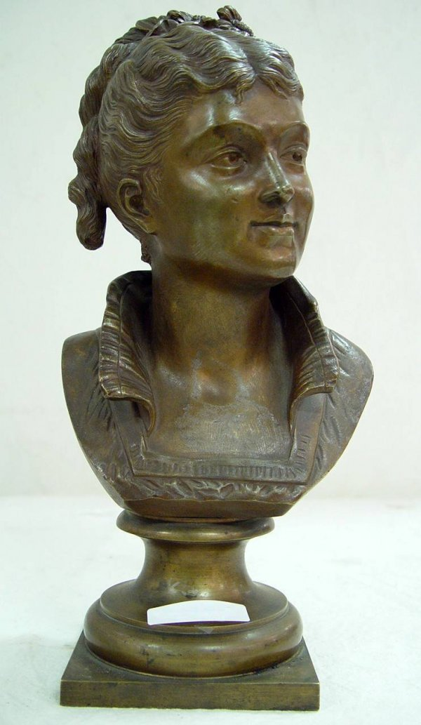 "93: BRONZE BUST ""VICTORIAN LADY"" SIGNED F. POTTIAN"