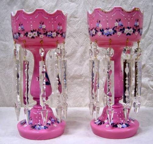 96: PAIR PINK VICTORIAN ENAMEL DECORATED LUSTRES 13 1/2