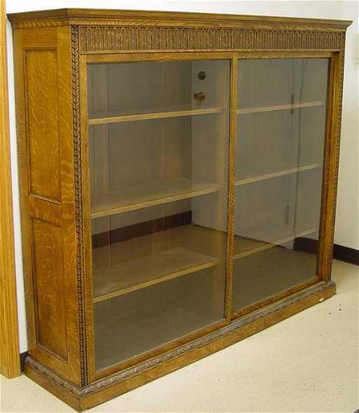 433 oak sliding glass door bookcase 60 tall 72 long for Long sliding glass doors