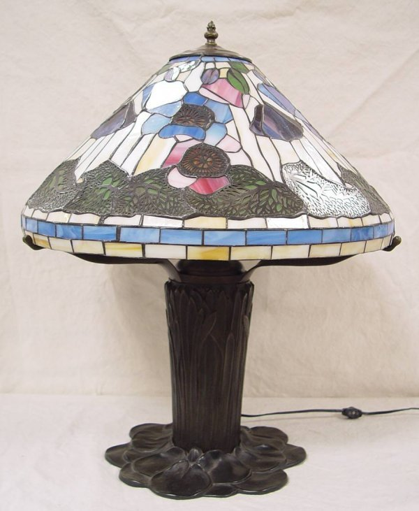 "1: LEADED STAINED GLASS LAMP WITH BRONZE BASE 27"" TALL"