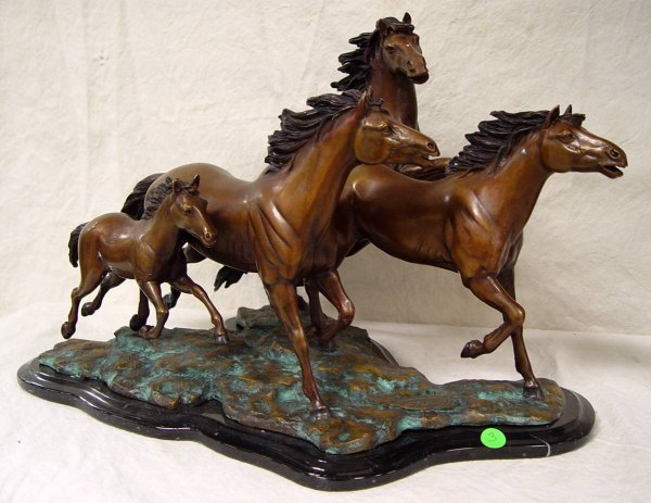 "3: BRONZE OF FOUR HORSES 14"" TALL 21"" LONG 13"" WIDE"