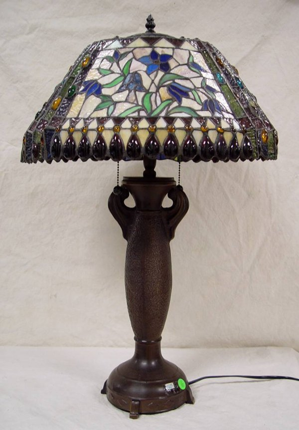 "6: LEADED GLASS LAMP 28"" TALL 18"" ACROSS"