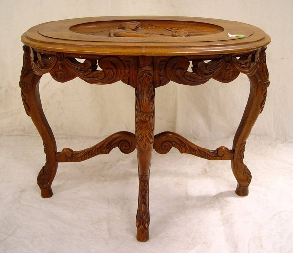 9: COFFEE TABLE WITH CARVED SCENE OF MOTHER & CHILD 20""
