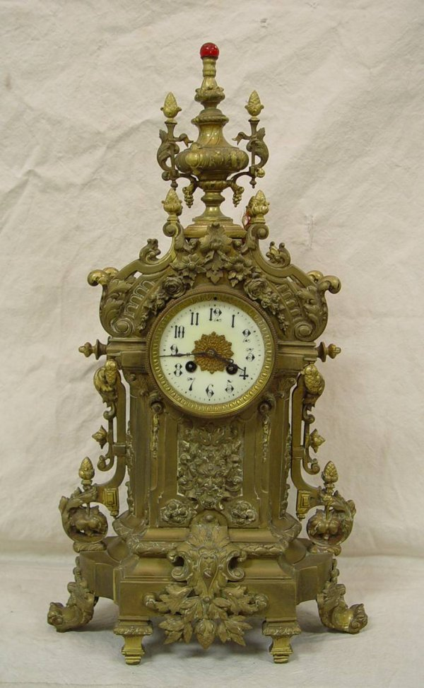 "10: FRENCH BRASS MANTEL CLOCK WITH PORCELAIN DIAL 23"" T"