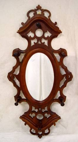 "12: VICTORIAN WALNUT HANGING HAT RACK WITH MIRROR 47"" T"