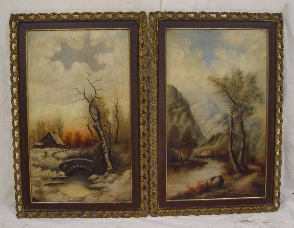 "23: PAIR FRAMED OIL PAINTINGS. EACH PAINTING 18"" X 30"""