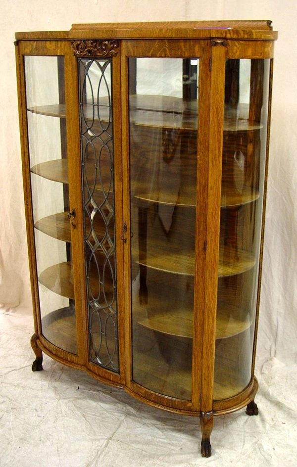 24: OAK CURVED GLASS CHINA CABINET WITH CURVED GLASS SI