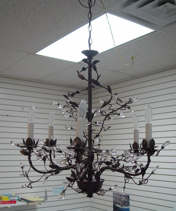 20: SIX LIGHT WROUGHT IRON CHANDELIER WITH CRYSTAL PRIS