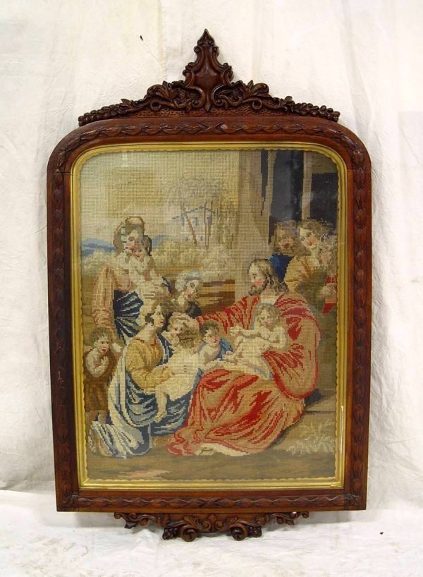 """21: SCENIC NEEDLEPOINT IN ROSEWOOD CARVED FRAME 36"""" TAL"""