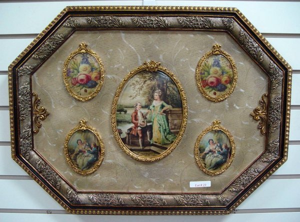 """23: WALL PLAQUE WITH 5 SCENIC PORCELAINS 17"""" X 23"""""""
