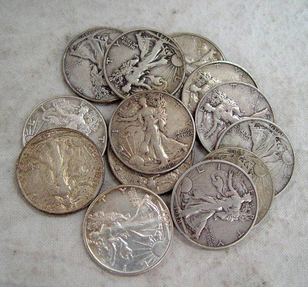 609: 13 STANDING LIBERTY HALF DOLLARS