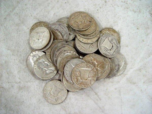 622: 40 FRANKLIN SILVER HALF DOLLARS