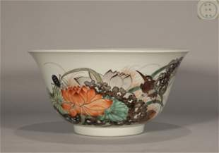 Famille Rose Floral and Bird Bowl Chenghua Style