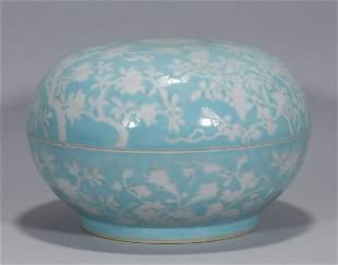 A Blue Glaze Reserve Decorated Box Guangxu Period