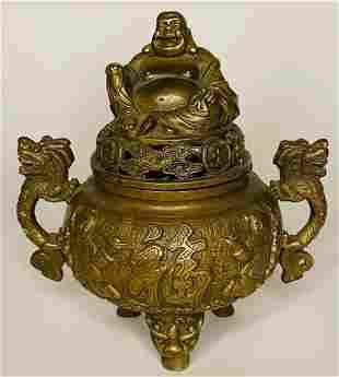 Antique Chinese Emperor Qianlong Bronze Buddha