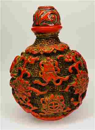 CHINESE CARVED RED LACQUERWARE SNUFF
