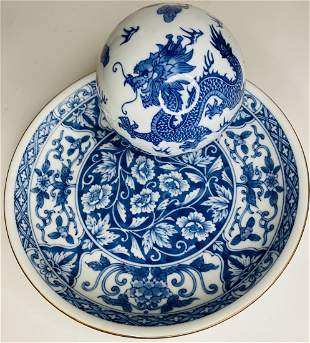 Asian Plate With A Porcelain Dragon Ball