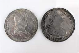 2 Mexican 8 Reales coins 1793  1820 silver