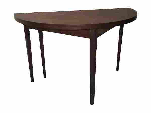 Walnut Flip Top Demilune Table