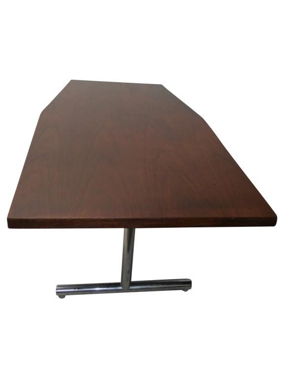 Large Walnut Tapered Top Table