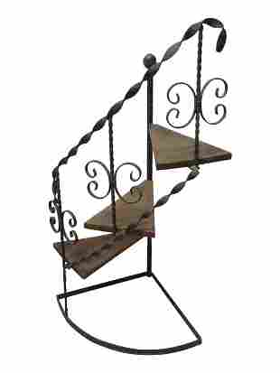 Wrought Iron Spiral Stair Plant Stand
