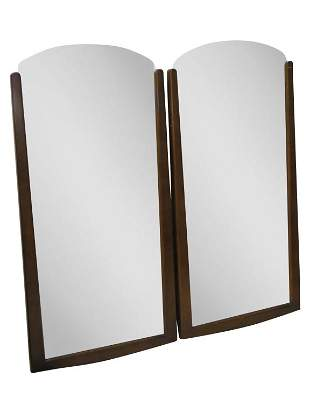 Pair MCM Walnut Beveled Mirrors