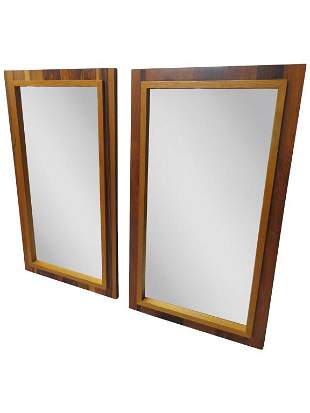 Pair Brutalist Style Rosewood Mirrors