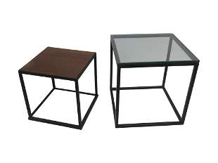 2 Metal Cube Tables
