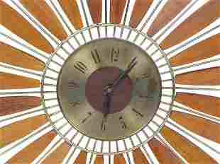 Teak Gilt Metal Sunburst Clock