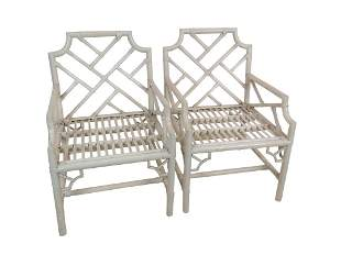 Pair Rattan Chippendale Arm Chairs