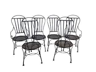 Set 6 MCM iron chairs