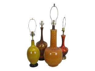 Four Mid Century Pottery Lamps